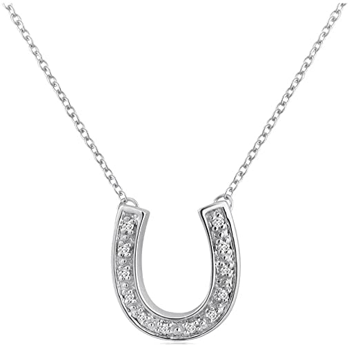 Amazon.com: Sterling Silver Diamond Horseshoe Necklace (1/10ct 16 .