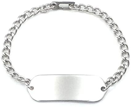 Amazon.com: MakeMeThis Plain ID Bracelet IDB-01 - Stainless Steel .