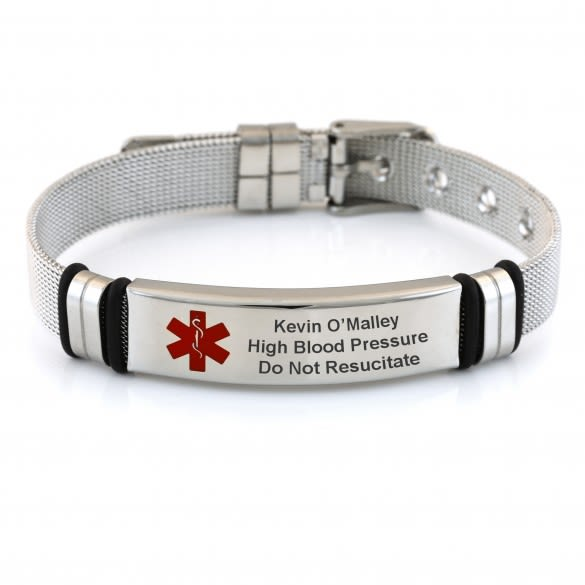Adjustable Mesh Band Medical ID Bracelet with Buckle | Custom .