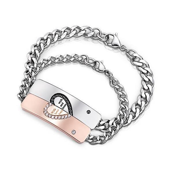 Romantic Half Heart Puzzle ID Bracelets For Lover Full Stainlesss .