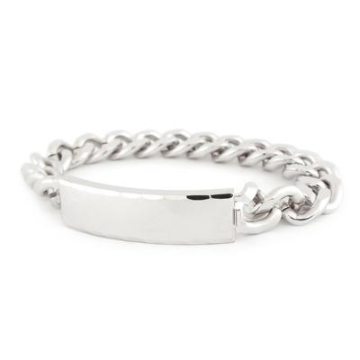 Men's ID Bracelet, Silver And Gold Engravable Plaque | Speid