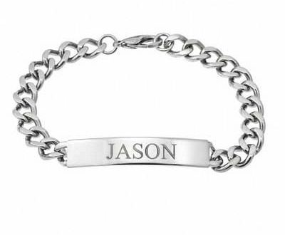 Men's ID Curb Bracelet in Stainless Steel (10 Characters) - 9.0 .