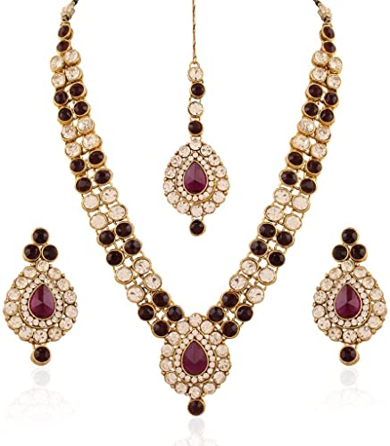Amazon.com: I Jewels Indian Jewellery Set with Maang Tikka for .