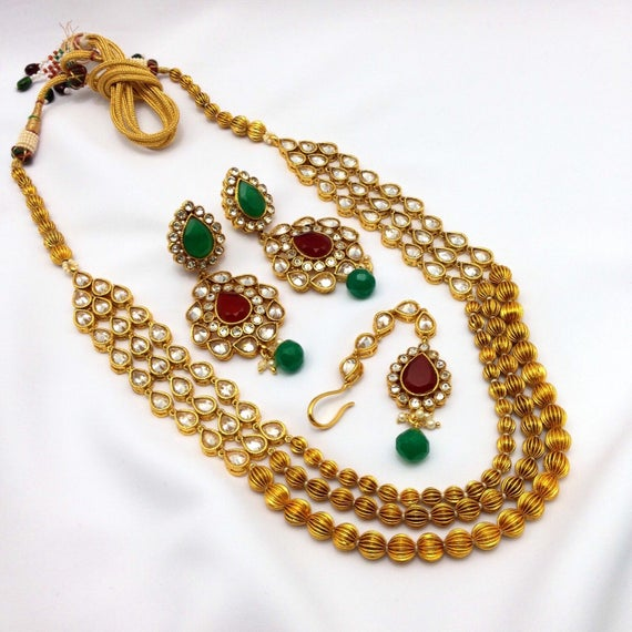 Handmade indian Jewellery Set With Cubic Zirconia Gold Plated | Et
