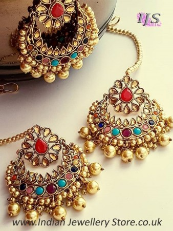 Pearl Indian Earrings & Tikka Jewellery Set | Indian Jewellery .