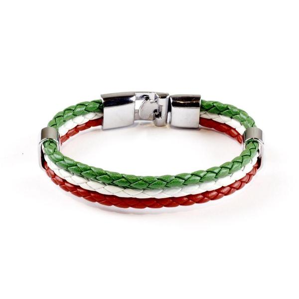 Italian Flag Leather Unisex Bracelet [2 Variants] - Ring to Perfecti