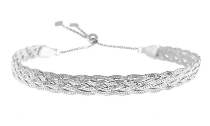 Up To 84% Off on Sterling Silver Braided Bracelet | Groupon Goo