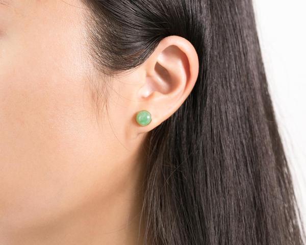 Anna | Round Green Jade Stud Earrings – TRA