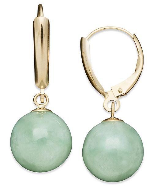 Macy's 14k Gold Earrings, Jade Bead Drop Earrings & Reviews .