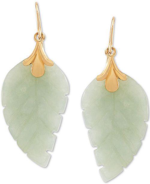 Macy's Jade Leaf Earrings in 10k Gold & Reviews - Earrings .