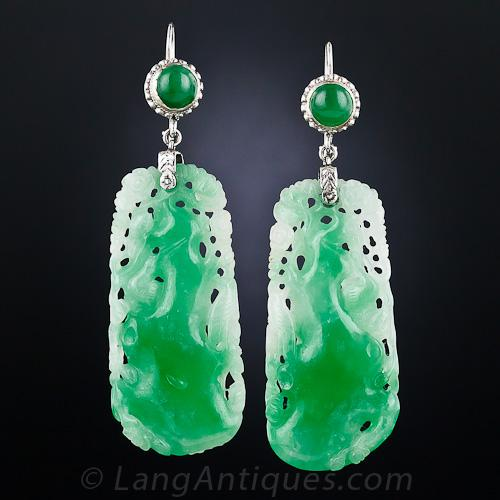 Vintage Carved Jade Drop Earrin