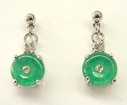 Amazon.com : Chinese Jade Earrings w/ round shape Pendant .