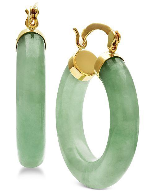 Macy's Jade Hoop Earrings in 14k Gold & Reviews - Earrings .