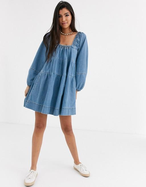 Free People Blue Jeans volume sleeve dress | AS