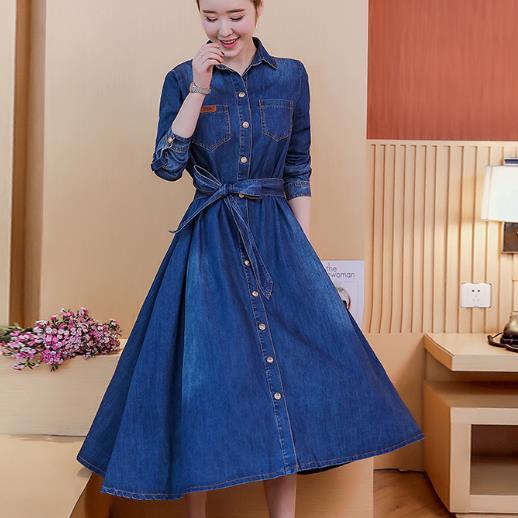 Women Fashion vintage jeans Dress long sleeve Slim Denim Dress .