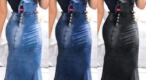 Women's Ruffle Hem Strap Long Denim Dresses Washed Skinny Pencil .