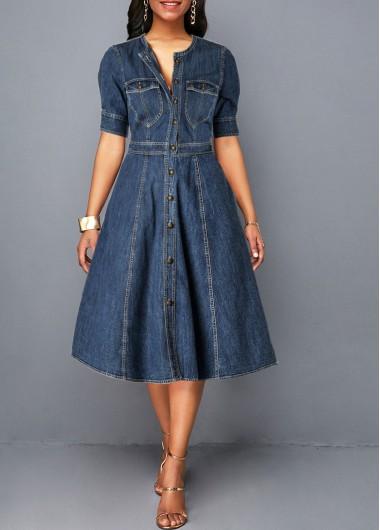 Denim Blue Button Up Pocket Shirt Dress | Rosewe.com - USD $32.64 .