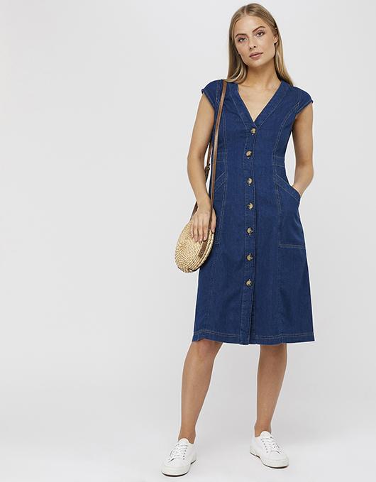Isla Denim Dress | Blue | UK 8 / US 4 / EU 36 | 6499723908 | Monso