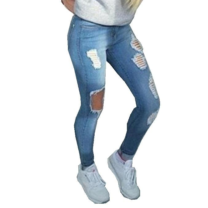 Ripped jeans with holes in 2020 | Pants for women, Cheap ripped .