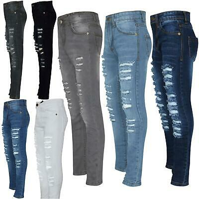 Kids Girls Skinny Jeans Denim Ripped Fashion Stretchy Pants .