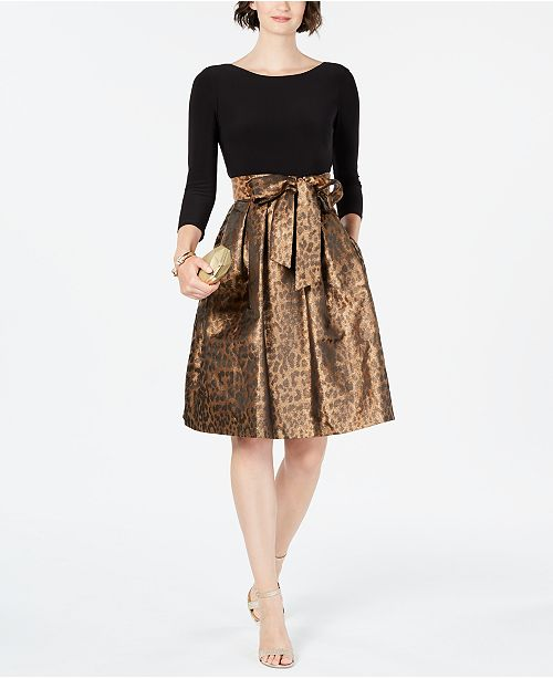 Jessica Howard Solid & Animal-Print Fit & Flare Dress & Reviews .