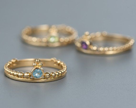 Gold Ring for Women, Indian Ring, Indian Jewelry, Aquamarine Ring .