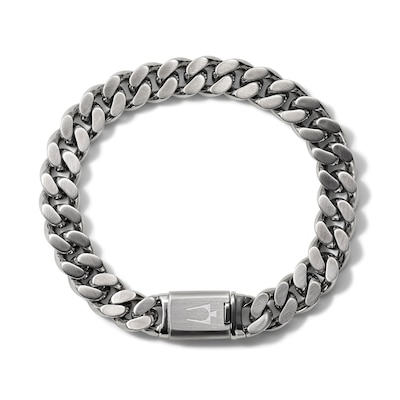 Bulova Jewelry 1.57mm Curb Chain Bracelet in Stainless Steel - 8.0 .