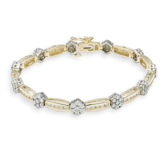 Rent Jewelry: Rosette Diamond Bracelets in Yellow & White Go