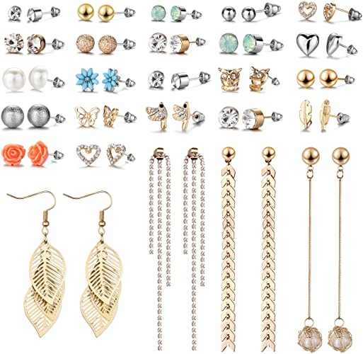 Amazon.com: 29 Pairs Assorted Multiple Stud Earrings set for Women .