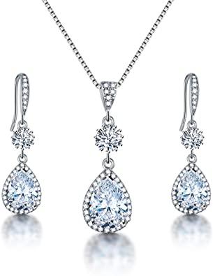 Amazon.com: AMYJANE Bridal Jewelry Set for Wedding - Teardrop .