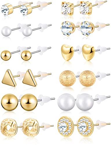 Amazon.com: BBTO 24 Pairs Stud Earrings Crystal Pearl Earring Set .