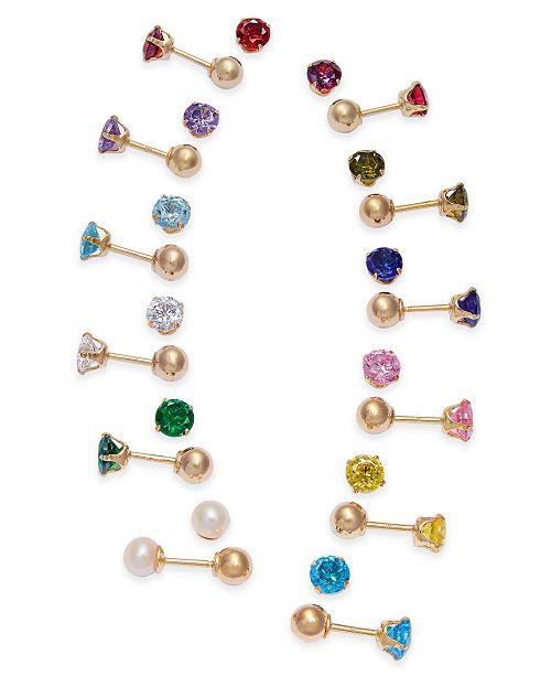 Macy's Children's Birthstone Reversible Stud Earrings in 14k Gold .