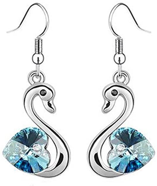 Amazon.com: Graceful Silver Swan Dangle Earrings (Pink): Jewel