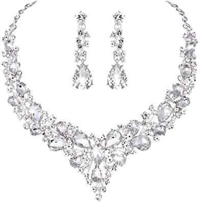 Amazon.com: Youfir Bridal Austrian Crystal Necklace and Earrings .