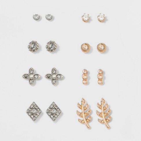 Multi Stud Earrings 8ct - A New Day™ Gold/Silver : Targ