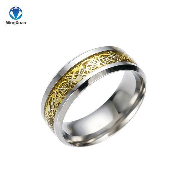 4 Colors Vintage Gold Dragon 316L Stainless Steel Ring Mens .
