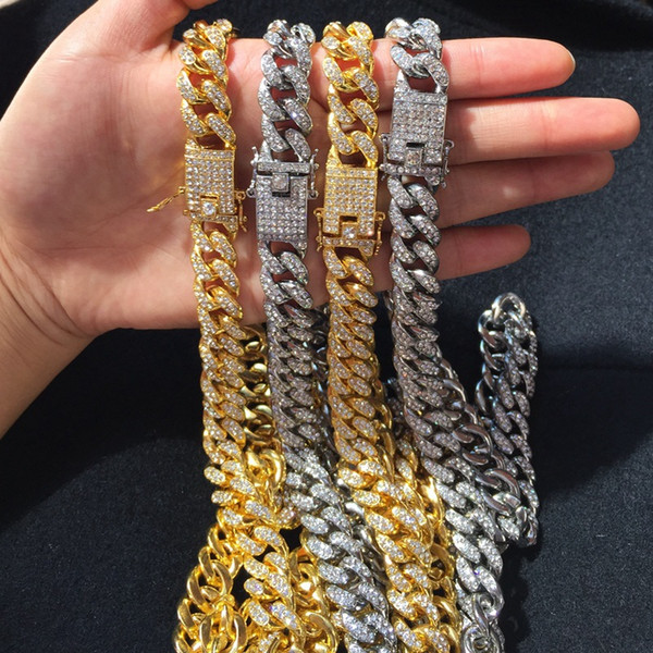 2019 Hip Hop Bling Chains Jewelry Iced Out Silver Gold Miami .