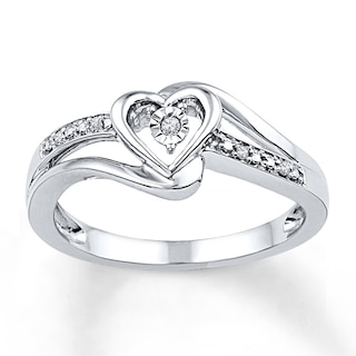 Diamond Heart Promise Ring Sterling Silver | Womens Rings | Rings .