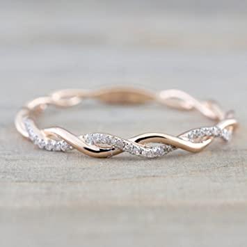 Amazon.com: Barogirl Twist Ring Engagement Ring for Women Women's .