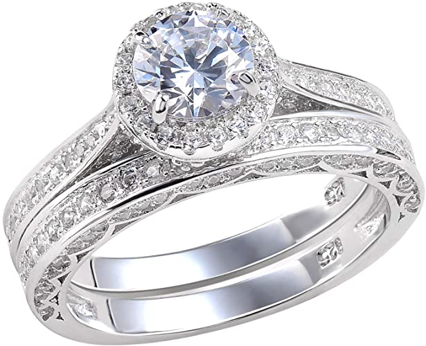 Amazon.com: Newshe Wedding Rings for Women Engagement Ring Set 925 .