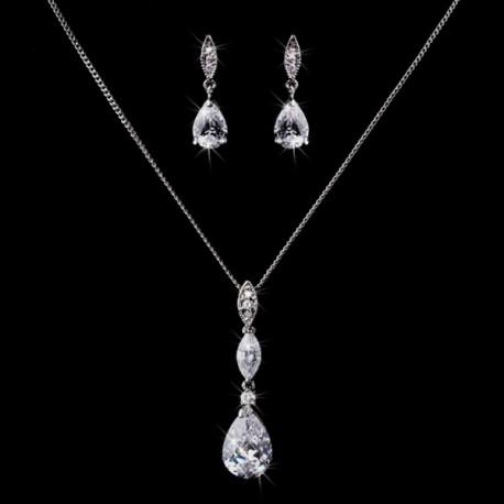 Simple Classic Elegant Teardrop CZ Cubic Zirconia Bridal Jewelry S
