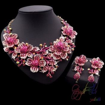 Pink Chinese Flower Crystal Jewelry Sets 18k Gold Plated Expensive .