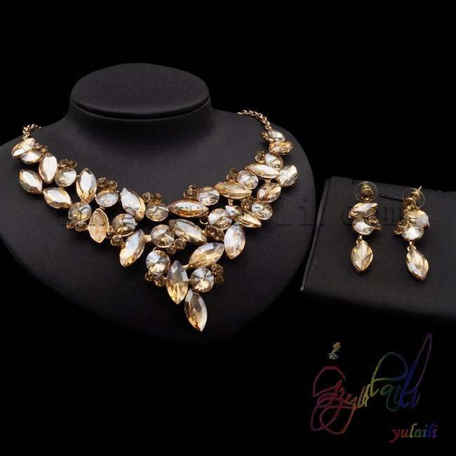 yellow flower crystal jewelry set small fashion jewelry sets .