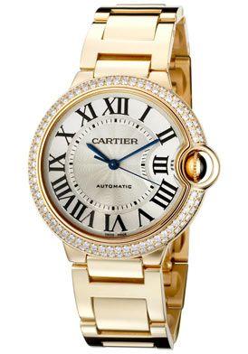 Cartier Ballon Bleu De Cartier Automatic White Diamond 18K Gold .