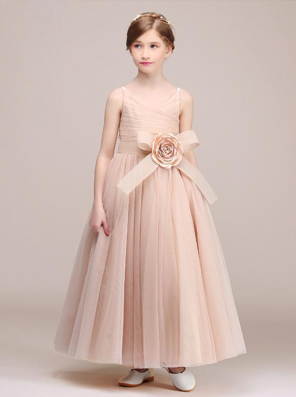 Tulle Long Junior Bridesmaid Dresses,Modest Junior Bridesmaid .