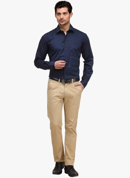 Men's Guide to Perfect Pant Shirt Combination | Blue shirt outfits .