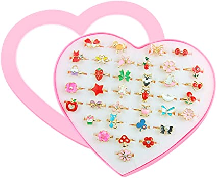 Amazon.com: SUNMALL 36 pcs Little Girl Adjustable Rings in Box, No .