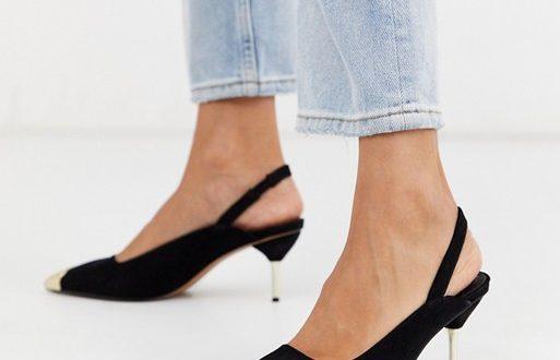 ASOS DESIGN Sascha slingback kitten heels in black | AS