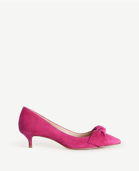 Ann Taylor Pink Kitten Heels, Ashlyn Suede Bow Pumps (With images .