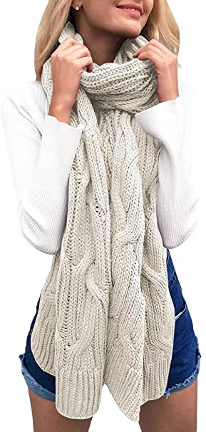 Beautife Womens Soft Winter Knitted Scarves Cable Knit Neck Warm .